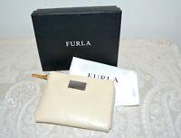 NWT $170 FURLA Giovanna Furlanetto Zip Billfold Purse Wallet White Cotton