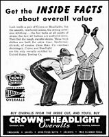1947 Farmer headstand Crown & Headlight overalls vintage art print Ad adL60