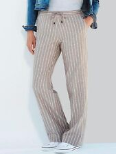 Capsule Ladies Trousers plus size 32 cotton linen blend striped stone pull on