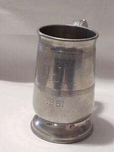 Pewter Mug tankard Vintage  English - Made In England Rand Engraved  H.J.L. 1961