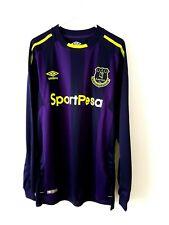 Everton 3rd Shirt 2017. Small Adults. Umbro. Blue Long Sleeves Football Top S.