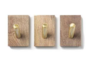 Threshold Ornament Hooks Set 3 COAT WALL HOOKS Wood Brass/Gold Finish TGT