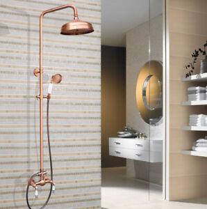 """Antique Red Copper 8"""" Rain Bathroom Rainfall Faucet Set Double Handle Tap 2rg554"""