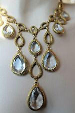 GOLDETTE N.Y. GOLDTONE & TEARDROP NECKLACE 15""