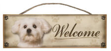 """Maltese """"Welcome"""" Rustic Wall Sign Plaque Gifts Home Ladies Pets Dogs"""