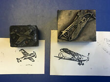Old Vtg Collectible Planes / AirPlane Letter Press Print Blocks Lot of 2
