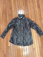 Women's Chico's Snake Print Button Down Brown Shirt Blouse Top Size 3