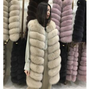 Real Genuine Fox Fur Gilet Vest Women's Winter Fashion Waistcoat Coats Overcoat