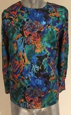 Vintage Motto Ladies Shirt Multicoloured Expressionism Art Themed Shirt Sz 14
