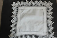 Vintage small square white linen cloth with crochet edges and drawn thread work.