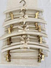Lot Of 12 Henry Hanger Company Custom Ivory Satin Padded Brass Clip Hangers