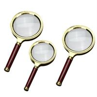 10X Wood Handle Magnifying Glass Fashion Handheld Magnifier Jewelry Reading^