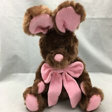 """Brown Bunny Rabbit Pink Corduroy Ears Nose Bow White Tail Plush 14"""" Toy Lovey"""