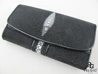 PELGIO Genuine Row Pearl Stingray Skin Leather Trifold Clutch Wallet Purse Black