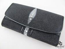 PELGIO Genuine Row Pearl Stingray Skin Leather Trifold Clutch Wallet Purse Black