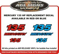 MERCURY 135 HP outboard  Replacement Decals  Reproductions  Red or Blue
