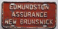 New Brunswick 1960's EDMUNDSTON ASSURANCE BOOSTER License Plate