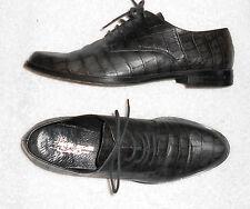 ELIZABETH STUART chaussures basses à lacets cuir façon croco gris P 39 TBE