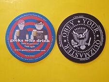 Beer Coaster: GEEKS WHO DRINK Quizmaster Trivia; Keanu Reeves,Oscars, Kit Carson