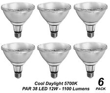 6 x LED PAR 38 Floodlight Globe / Bulb 12W 240V E27 Cool Daylight 5700K