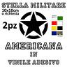 ADESIVO STELLA MILITARE AMERICANA NERA RICAMBIO 10X10 MOTO CASCO FORNITURA 2 PZ