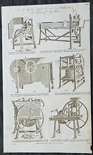 1794 William Hall Antique Print Newly Invented Farm Thrashing Machines (01-7374)