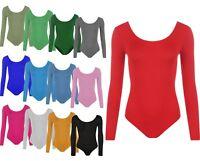 New Women's Scoop Neck Stretchy Long Sleeve Bodysuit Plain Top Sizes (S/M-M/L)
