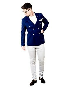 Mens Blazer Slim Fit Blue Navy Double Breasted Designer Spring Summer Party