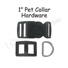 10 Black Dog Collar Hardware Kit - 1 Inch Curved Buckle, Slide Adjuster, D-Ring