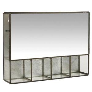 Black Wall Hanging Storage Cabinet With 5 Rooms & Mirror Door by Ib Laursen