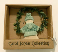Carol Jones Collection Handcrafted Winter Gingerbread Man Ceramic Ornament NWT
