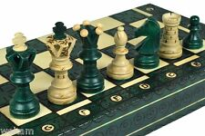 XL ROYAL HANDCRAFTED WOODEN CHESS MAPLE WOOD- GREEN