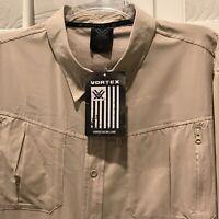 NWT Vortex Mens XL Tan Tactical Vented Long Sleeve Button Down Shirt