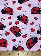"""100% Cotton Fabric LADYBUGS and HEARTS FQ 18"""" X 22"""" DIY Mask Making / Quilting"""