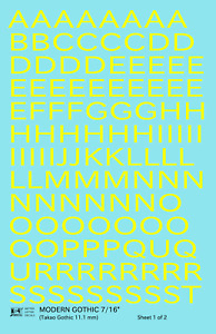 K4 G Decals Yellow 7/16 Inch Modern Gothic Letter Number Alphabet Set