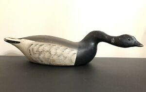 Vintage Hollow Carved Wood Serpent Neck Hissing Brant Goose Duck Decoy Glass Eye