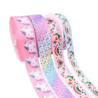 "5Yards/roll 2"" Rainbow Unicorn  Printed Cartoon Ribbon DIY Hair bows Materials"