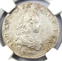 1720-A France Louis XV 1/3 Ecu Coin (1/3E) - NGC Uncirculated Details (UNC MS)