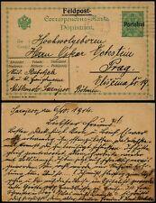 K605 Austria Serbia postcard stationery Sarajevo Prag Czechoslovakia 1914