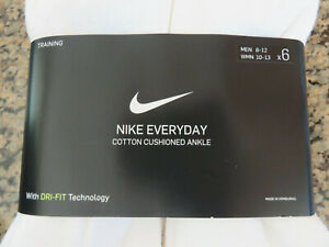 NIKE Everyday 6 Pairs ANKLE Cotton Blend Socks DRI-FIT Mens 8-12 Women's 10-13