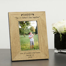 Daddy Our 1st Father's Day Together Wood Frame 7x5 Personalised Engraved Gift Portrait