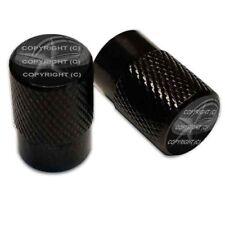 2 Black Aluminum Knurled Motorcycle Valve Caps - GHOST NAUTICAL STAR TT105