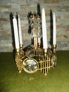 Kerzenleuchter für 5 Kerzen  Kristallprismen + vergoldetes Metall  Unikat