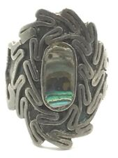Vintage Oxidized Sterling Silver Abalone Shell Inlay Abstract Wide Cocktail Ring