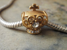 Edelstahl Bead Element Krone mit Kreuz Strass Farbe Gold für Armband 1669