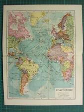 1904 ANTICA MAPPA ~ Oceano Atlantico mostra britannica possedimenti STEAMER rotte