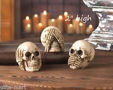 "3 small hear speak see no evil 2"" statue game piece heads skeleton skull throne"