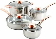 Stainless Steel Cookware Set Pots And Pans Glass Lid Sauce Copper Handle 8 Piece