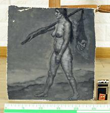 KOFRON Ölgemälde um 1940 antik Hexe Totentanz Grisaille entartete Kunst ? Franz