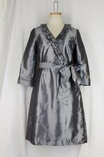 ALEX MARIE $129 Wanda Wrap Dress 4 SMALL Gray Silver Slate Taffeta Ruffle
